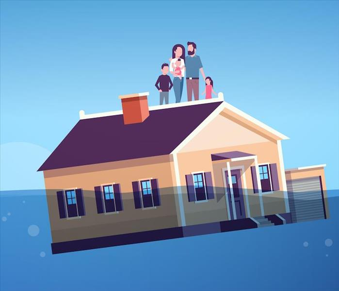Home floating in floodwater